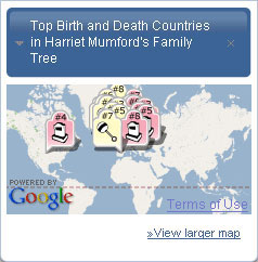 Map the top countries for births and deaths in your family tree